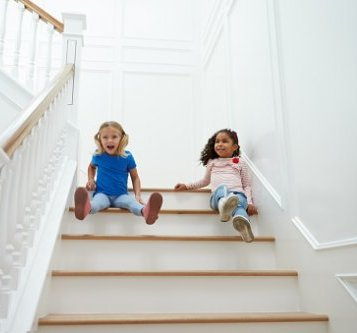 children playing on stairs