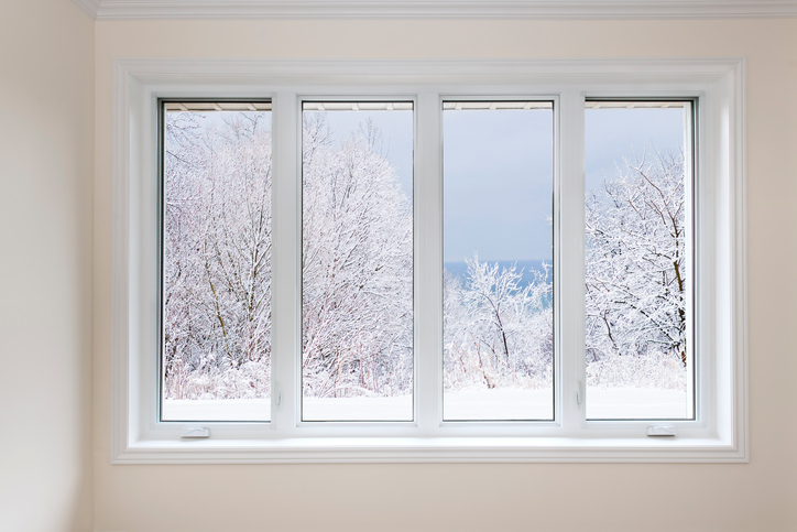 view of winter trees through window